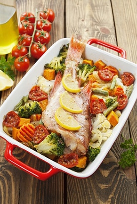 healthy meal of fish and vegetables